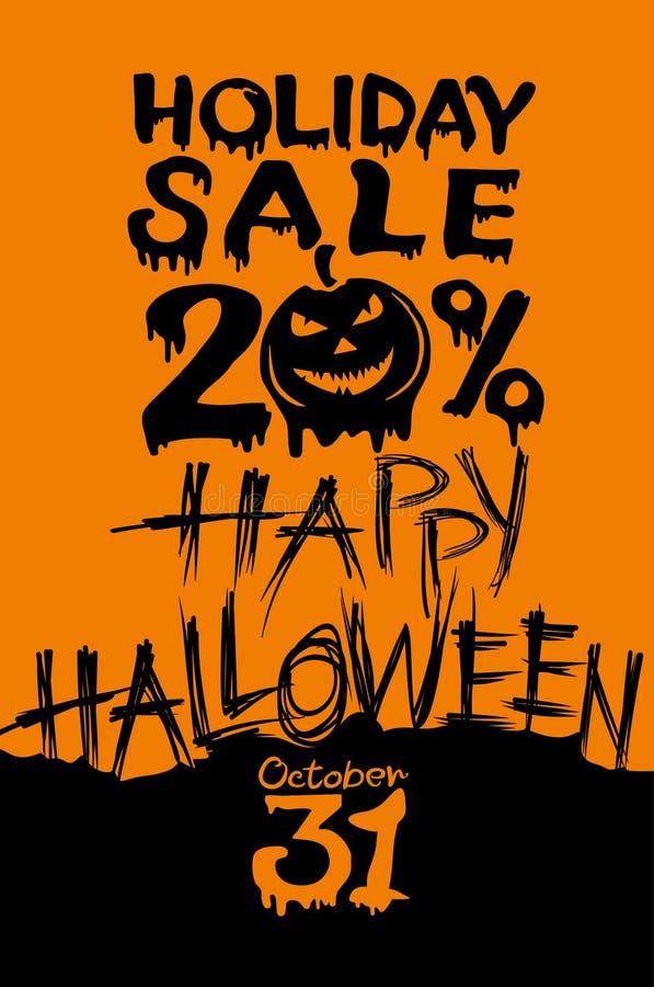 Venda de Dia das Bruxas do feriado Disconto cabeça da abóbora de 20 por cento ilustração stock