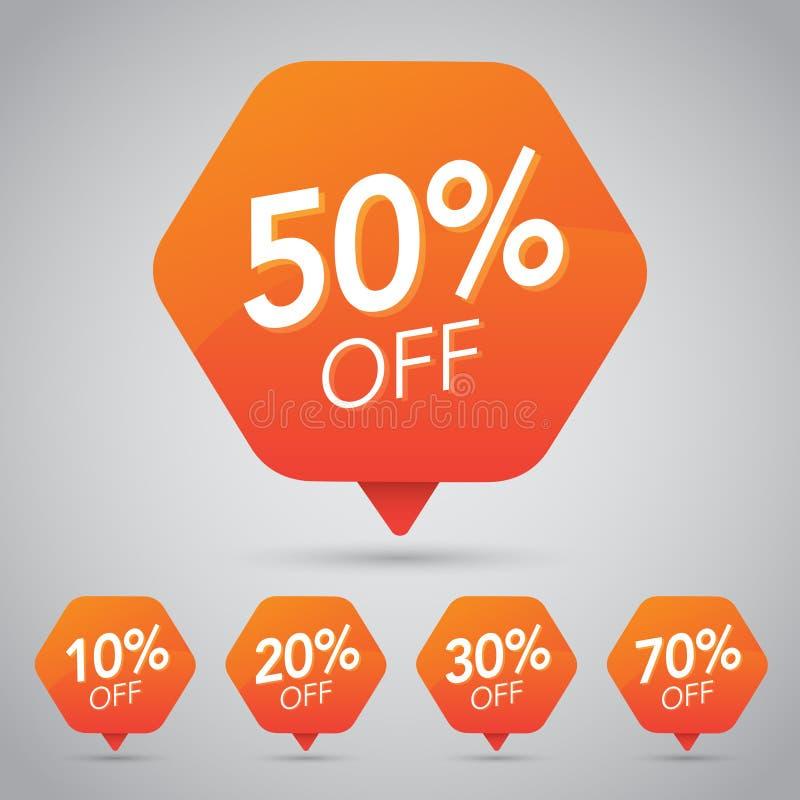 10%, 15% 20%, 25%, 30%, 35%, 45%, 50%, 65%, venda de 70%, disco, fora na etiqueta alaranjada alegre para introduzir no mercado o  ilustração royalty free
