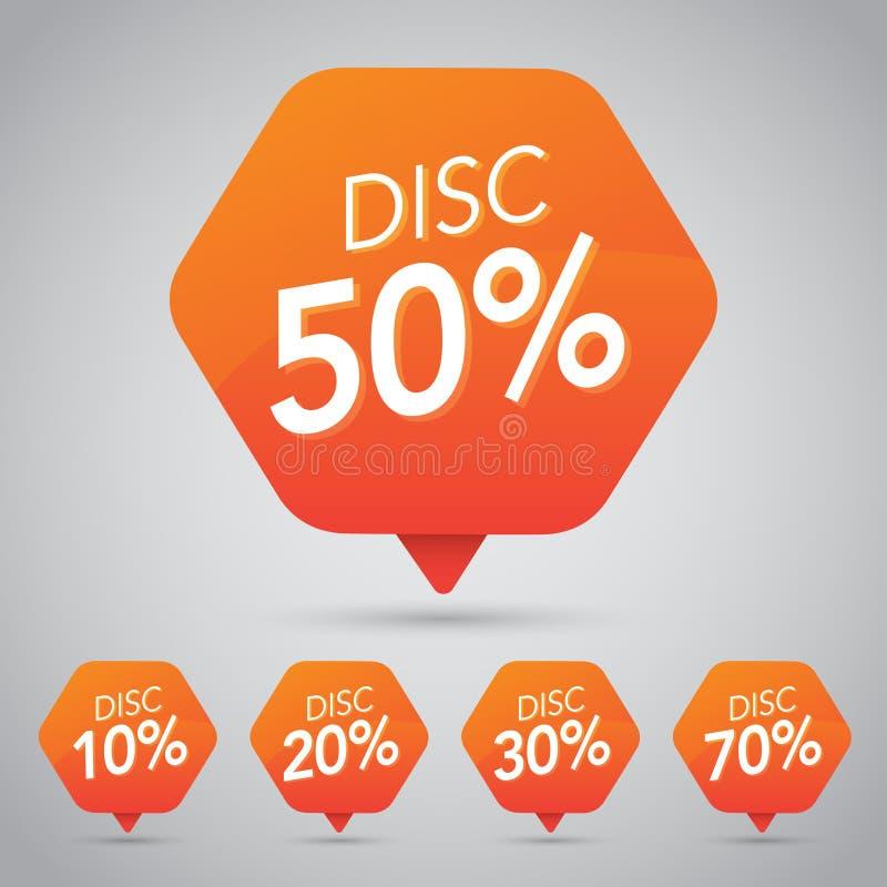 Venda de 50%, disco, fora na etiqueta alaranjada alegre para introduzir no mercado o projeto varejo do elemento ilustração stock