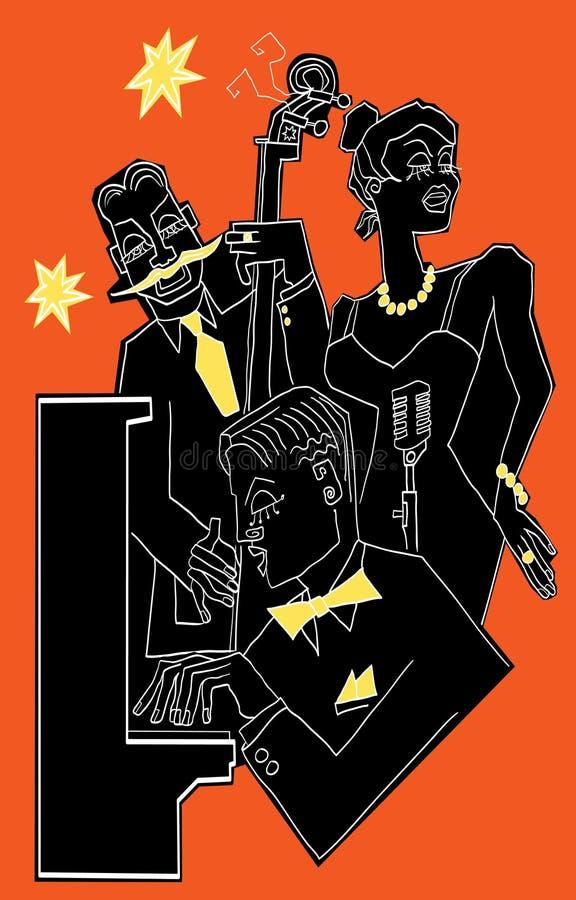 Venda de jazz en un fondo colorido stock de ilustración