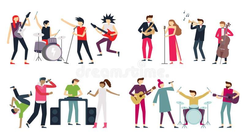 Venda de la música Azules del jazz, punk rock y bandas de estallido del indie El guitarrista del metal, el batería y el cantante  libre illustration