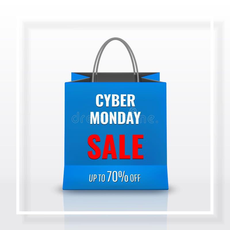 Venda de segunda-feira do Cyber Saco de compras de papel realístico com os punhos isolados no fundo branco Ilustração do vetor ilustração do vetor