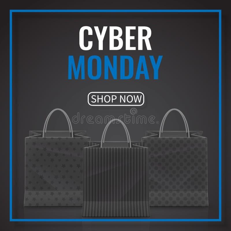 Venda de segunda-feira do Cyber Saco de compras de papel realístico com os punhos isolados no fundo escuro Ilustração do vetor ilustração stock