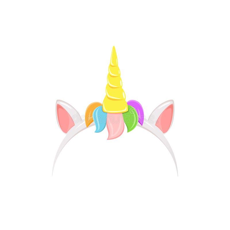 Venda del unicornio con el pelo del arco iris stock de ilustración