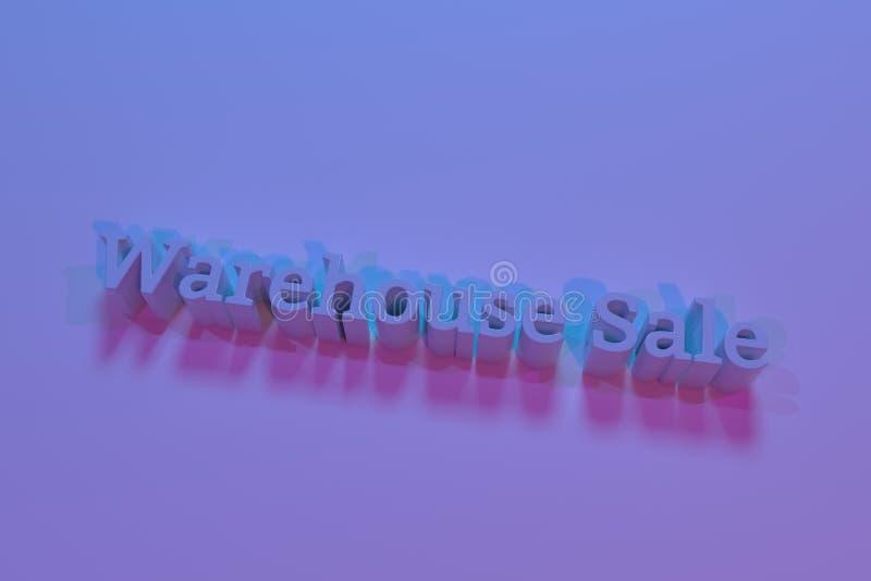Venda do armazém, rendição 3D Palavras-chaves do cgi Para o projeto gráfico ou o fundo, tipografia ilustração stock
