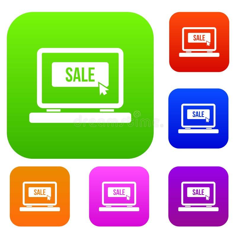 Venda do botão em coleção ajustada do portátil ilustração royalty free