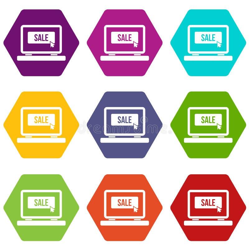 Venda do botão em hexahedron ajustado da cor do ícone do portátil ilustração royalty free
