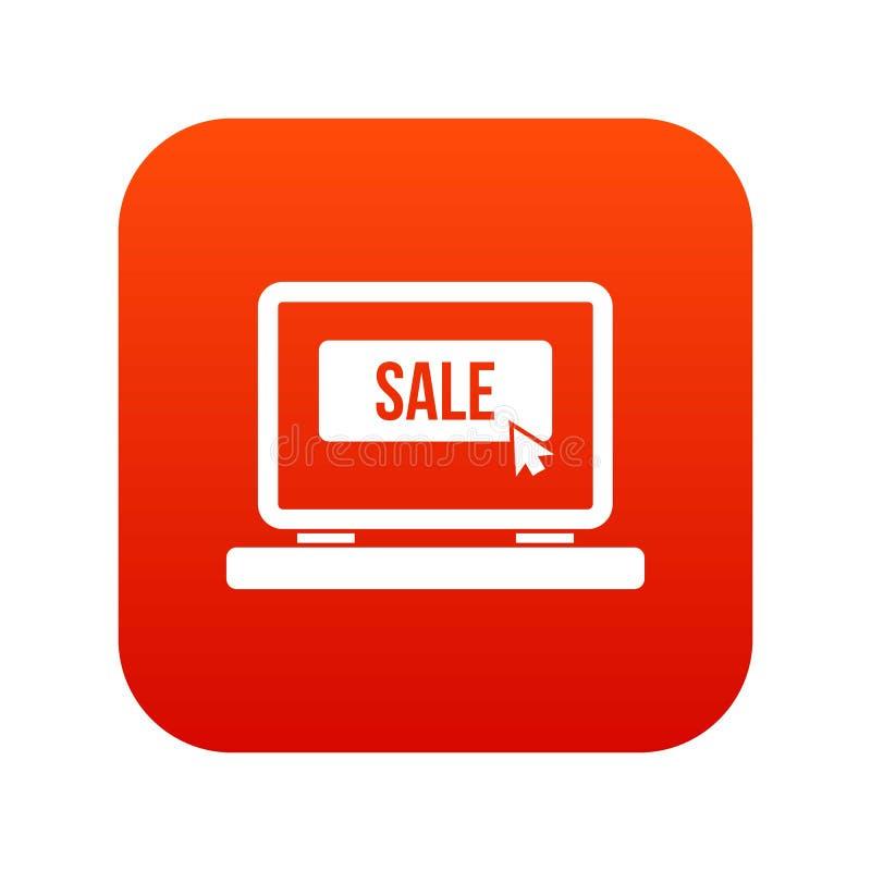 Venda do botão no vermelho digital do ícone do portátil ilustração stock
