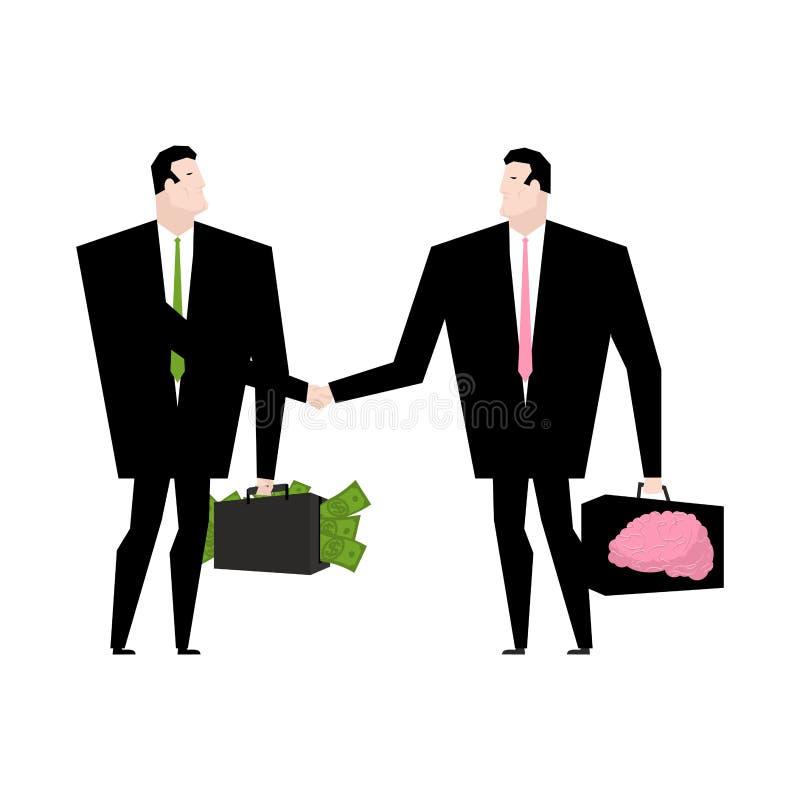 Venda do conhecimento Dinheiro da troca da transação na ideia Cha dos pensamentos ilustração do vetor