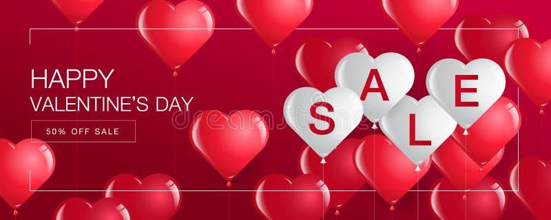 A venda do dia do ` s do Valentim, bandeira do molde, corações Balloons ilustração royalty free
