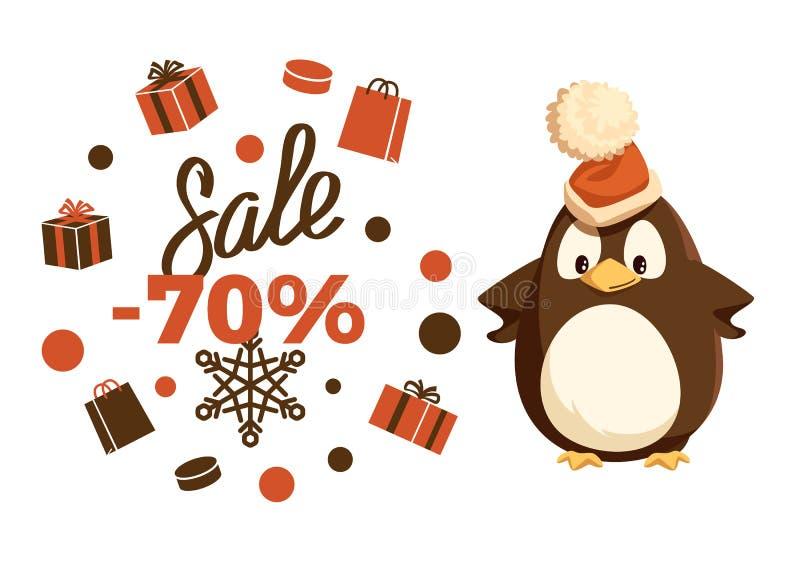 Venda do Feliz Natal animal do pinguim de 70 por cento ilustração royalty free