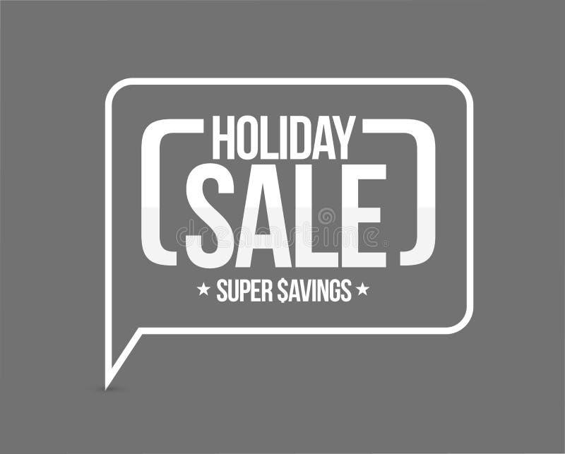 venda do feriado, sinal super da mensagem das economias ilustração stock