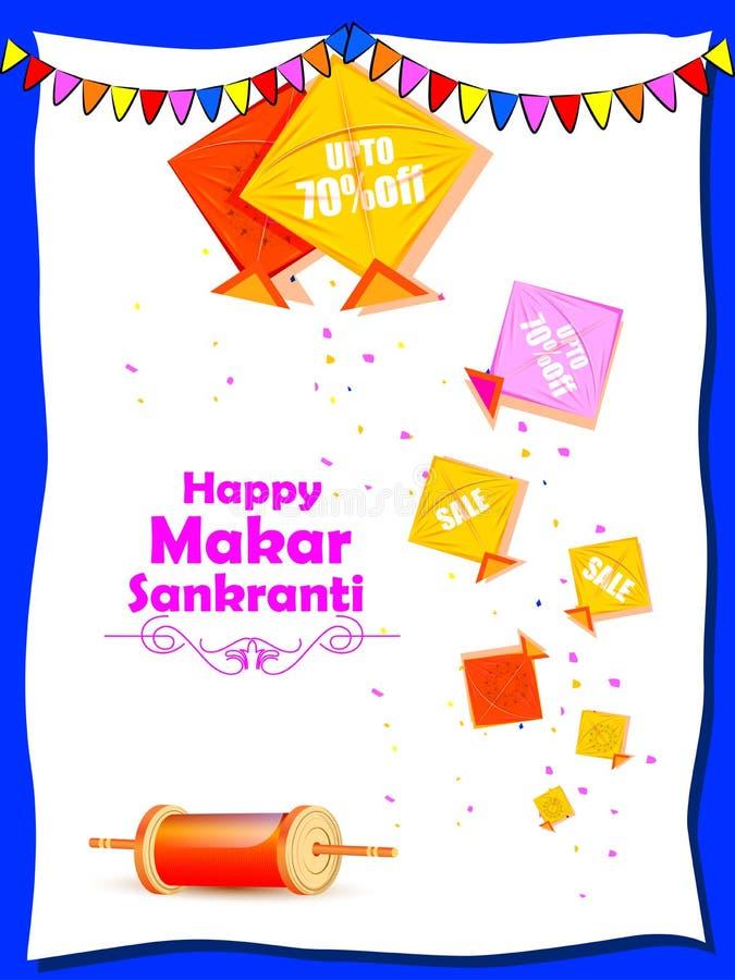 Venda do festival da Índia do feriado de Makar Sankranti e fundo felizes da promoção ilustração royalty free