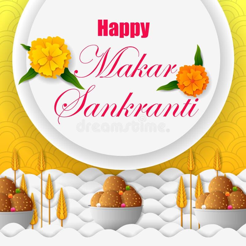 Venda do festival da Índia do feriado de Makar Sankranti e fundo felizes da promoção ilustração stock