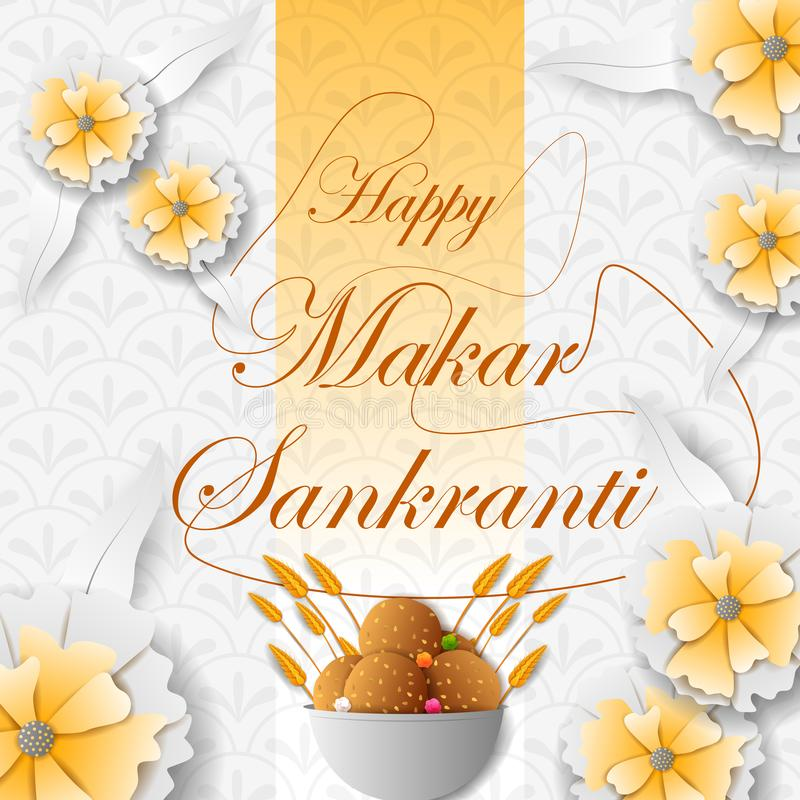 Venda do festival da Índia do feriado de Makar Sankranti e fundo felizes da promoção ilustração do vetor