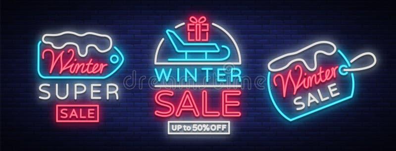 A venda do inverno é uma coleção dos cartazes no estilo de néon Grupo dos sinais de néon, inseto brilhante, bandeira de brilho, n ilustração stock