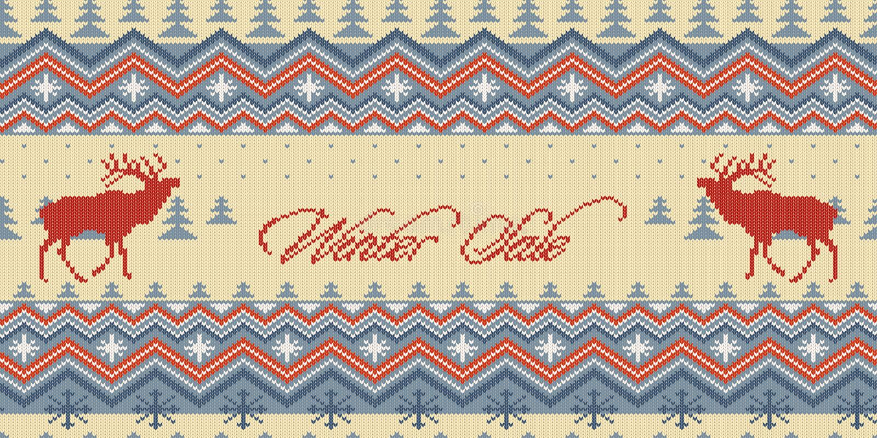 Venda do inverno O inverno do Natal fez malha o teste padrão sem emenda de lã com veados vermelhos na floresta das coníferas ilustração stock