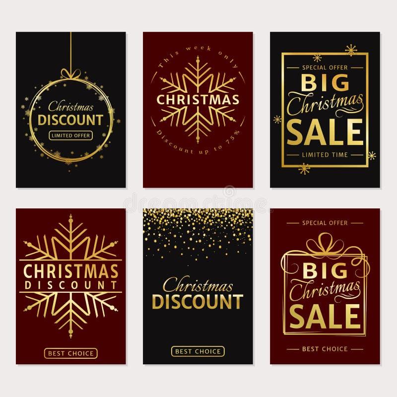 Venda do Natal Bandeiras luxuosas do vetor ajustadas ilustração stock
