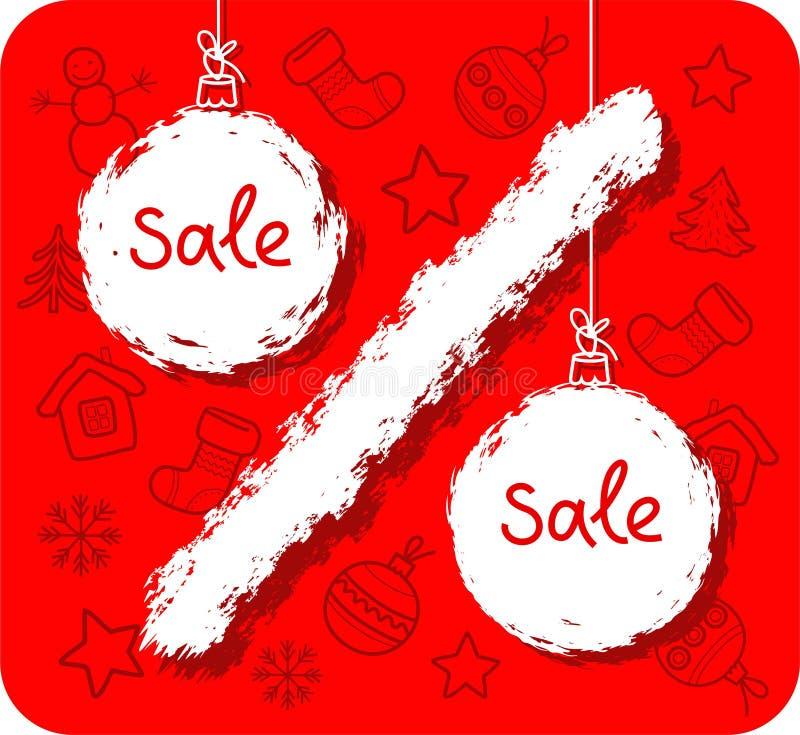 Venda do Natal, centavo, bola do Natal, fundo vermelho ilustração stock