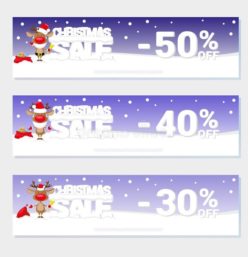 Venda do Natal do cartaz com os cervos e o texto de Santa engraçada das letras grandes na neve Estilo dos desenhos animados Ilust ilustração do vetor