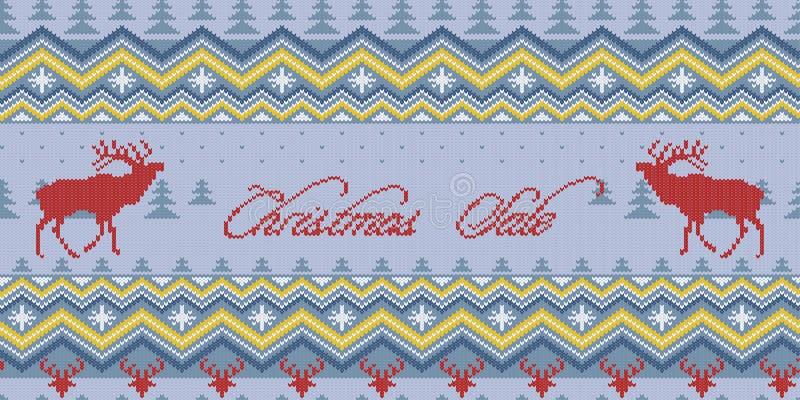 Venda do Natal Teste padrão sem emenda de lã feito malha inverno com veados vermelhos e o ornamento escandinavo ilustração royalty free