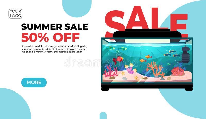 Venda do verão, bandeira moderna da Web no estilo cortado de papel para seu Web site com o aquário redondo com peixes imagem de stock