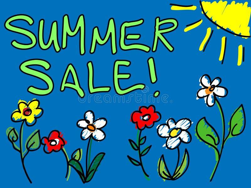 Venda do verão com doodle do sol e das flores ilustração do vetor