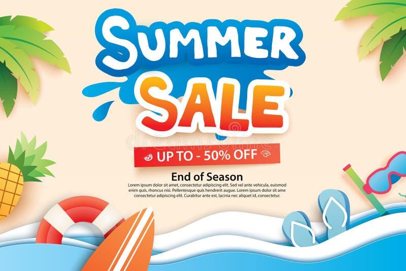 A venda do verão com papel cortou o símbolo e o ícone para anunciar a praia ilustração stock