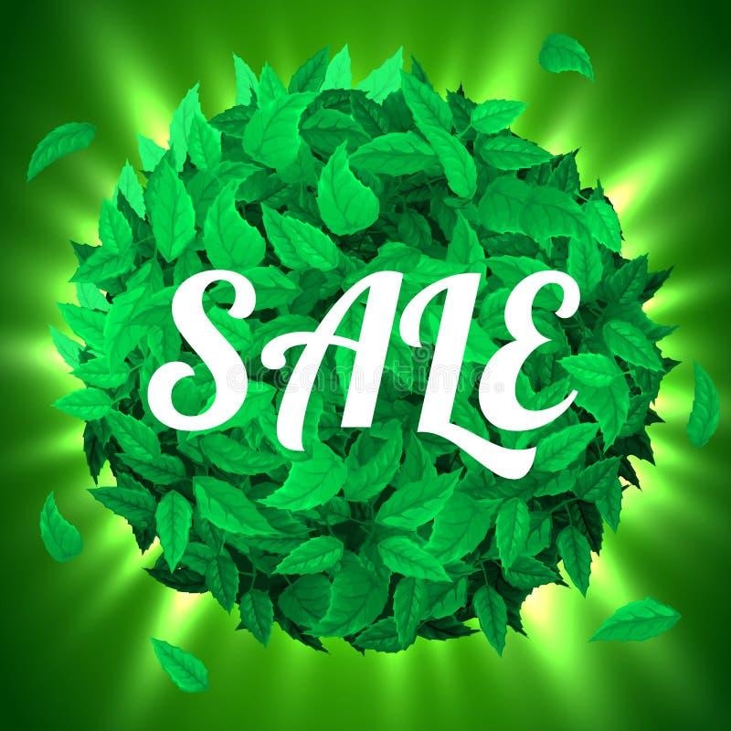 Venda do verão ou da mola Fundo com as folhas verdes frescas Conceito da folha ilustração royalty free