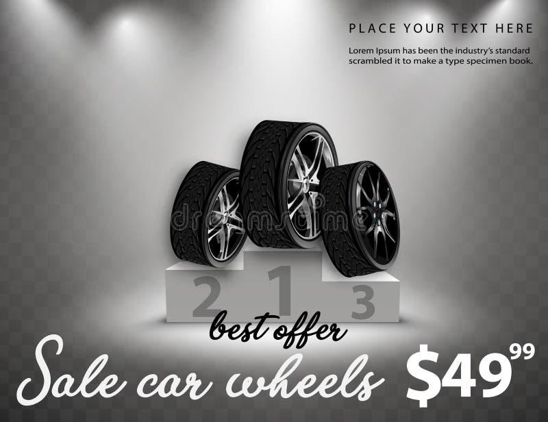 A venda do vetor roda o cartaz da propaganda ilustração 3D do pneu de carro Roda Pneu de borracha preto Carro de brilho do disco  ilustração royalty free