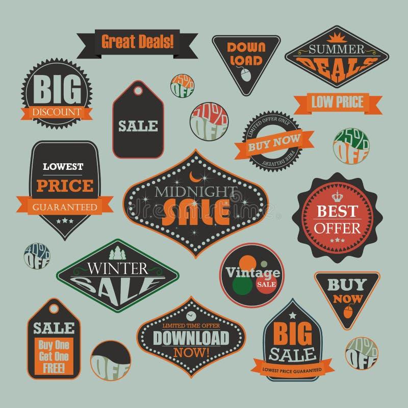 Venda do vintage e etiquetas relativas à promoção da propaganda ilustração royalty free