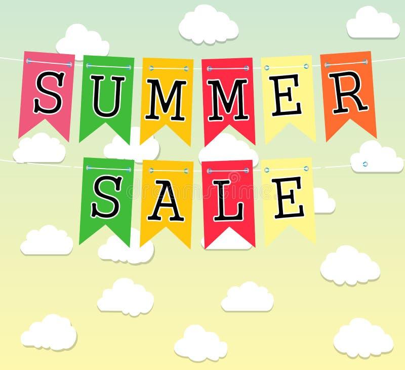 A venda dura do verão do disconto com nuvens vector a ilustração ilustração royalty free