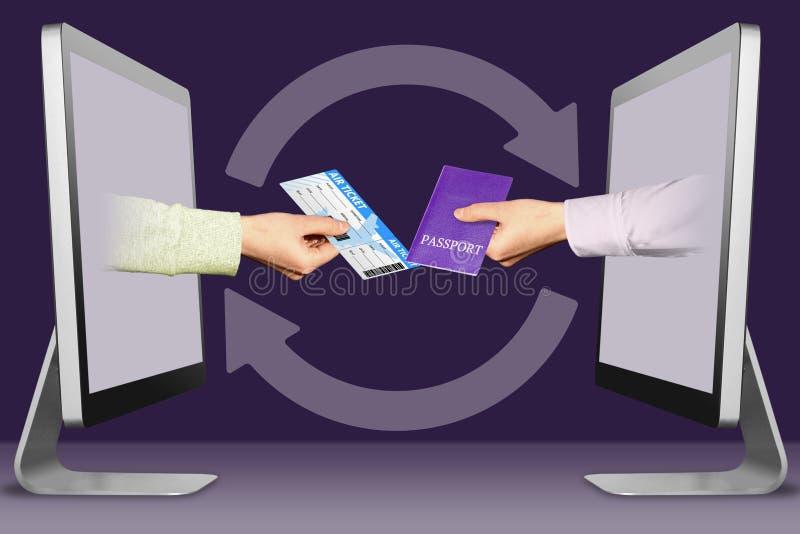 Venda el concepto del e-boleto, dos manos de monitores billete y pasaporte de avión ilustración 3D libre illustration