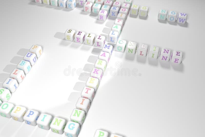 Venda el crucigrama en línea, de comercialización de la palabra clave Para la p?gina web, el dise?o gr?fico, la textura o el fond ilustración del vector