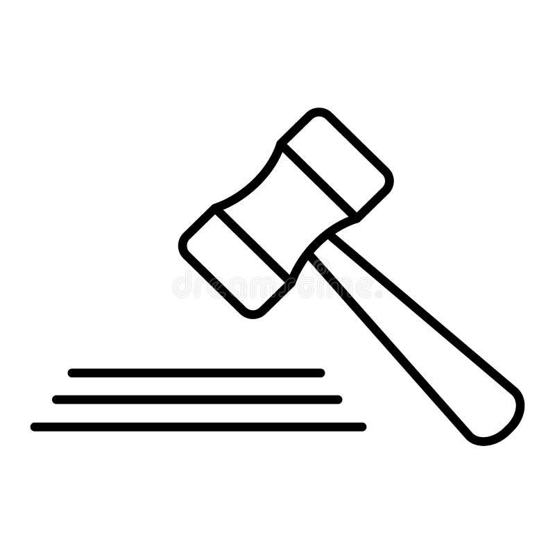 Venda em hasta a linha ícone do malho, sinal do vetor do esboço, pictograma linear do estilo isolado no branco Símbolo do martelo ilustração royalty free