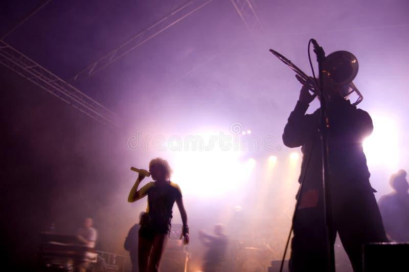 Venda en etapa en el concierto. imagen de archivo libre de regalías
