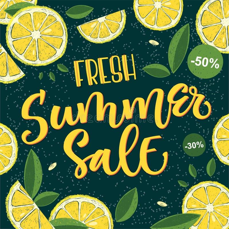 Venda fresca do verão - projeto colorido brilhante da caligrafia ilustração stock