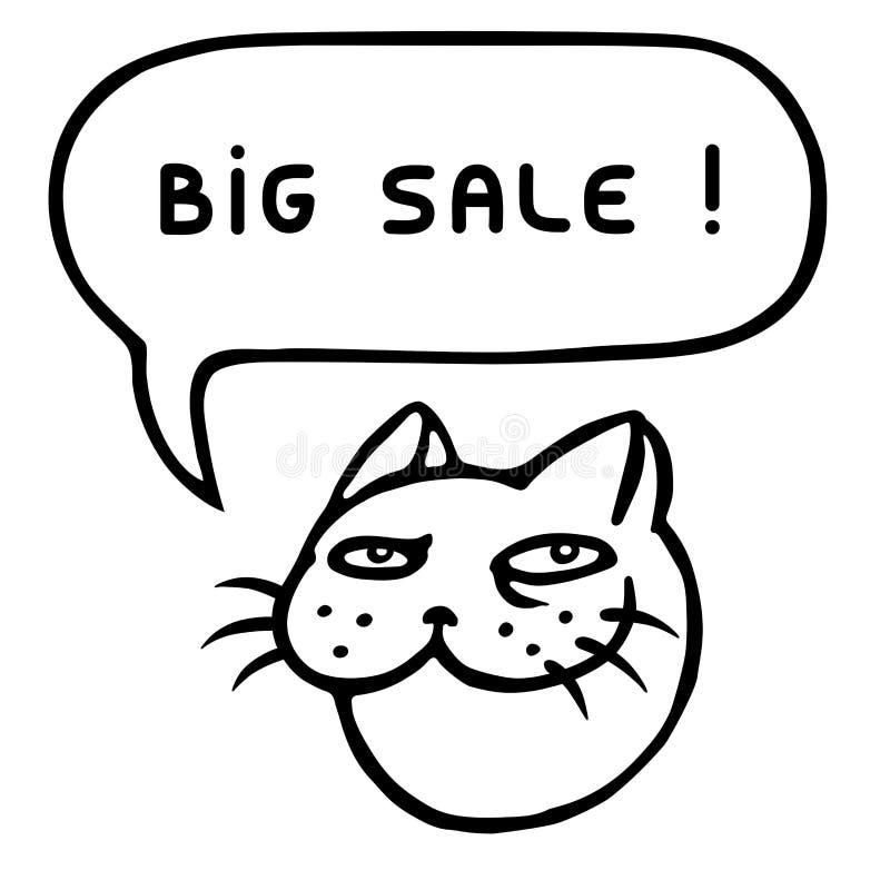 Venda grande Cabeça do gato dos desenhos animados Bolha do discurso Ilustração do vetor ilustração do vetor