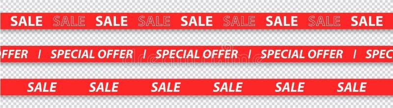 Venda grande, desconto, venda mega, fitas especiais da oferta, as vermelhas e as amarelas isolados no fundo transparente Ilustra? foto de stock royalty free