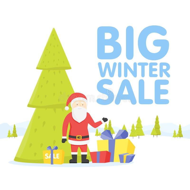 Venda grande do Natal Projeto liso Santa com cartaz da venda Pelos feriados de inverno que compram, anúncios dos discontos Presen ilustração stock