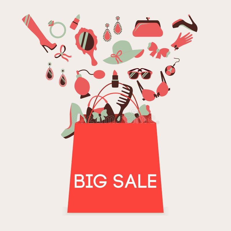 Venda grande do saco de compras ilustração royalty free