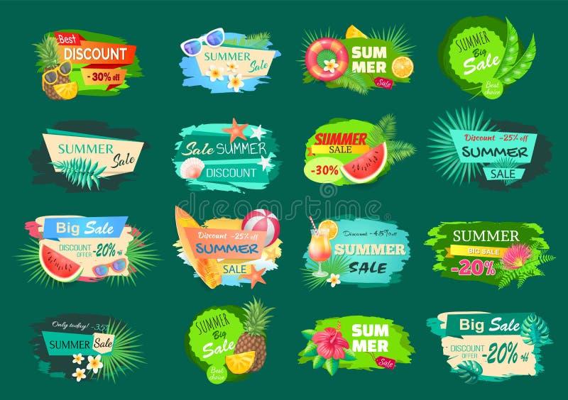 Venda grande do verão, o melhor grupo de etiquetas da oferta do desconto ilustração stock