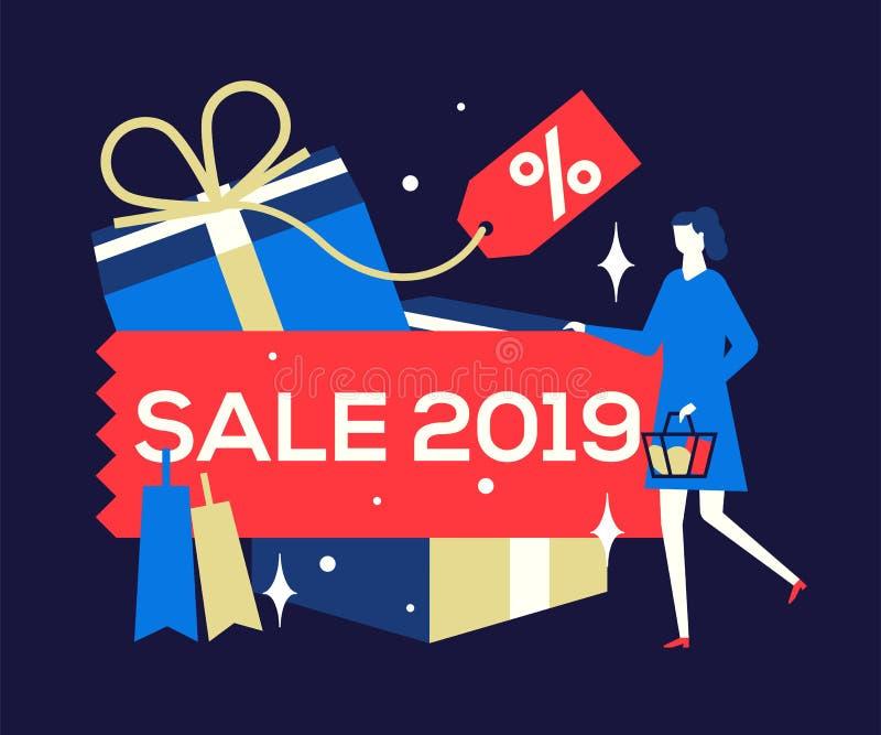 Venda grande 2019 - ilustração colorida do estilo liso do projeto ilustração stock