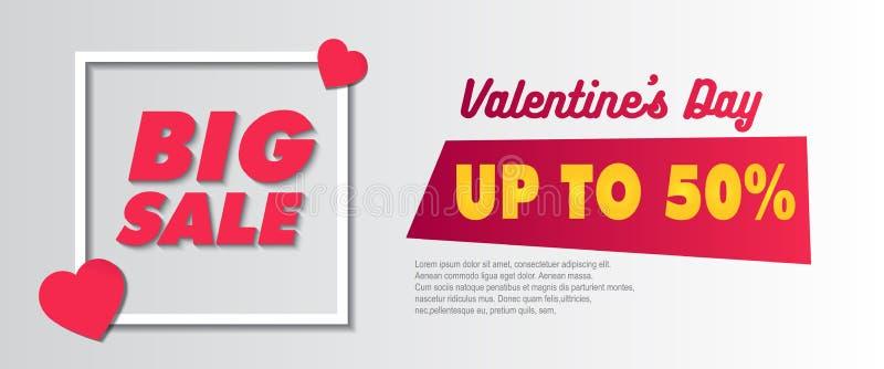 Venda grande Valentine Banner Template ilustração royalty free