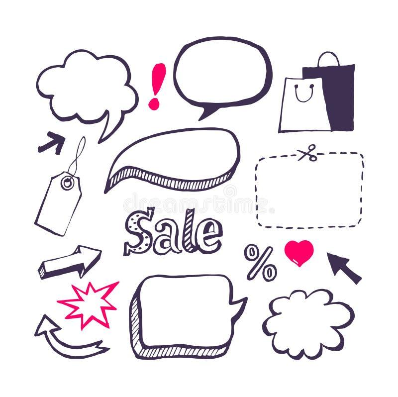 Venda, grupo de compra. Tração da mão ilustração do vetor