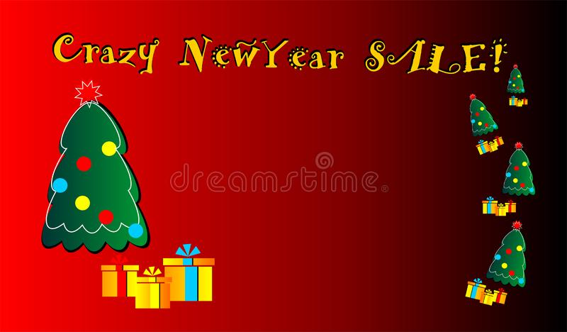 Venda louca do ano novo, bandeira, fundação, sonhos, novos, para a Web, para anunciar, para a venda, a proposição, ilustração stock