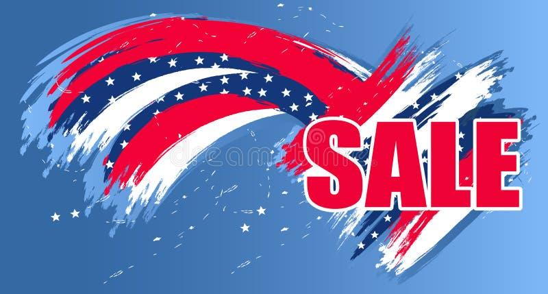 Venda moderna do fundo para Dia da Independência EUA o 4 de julho para o cartaz ou a bandeira Vetor ilustração do vetor