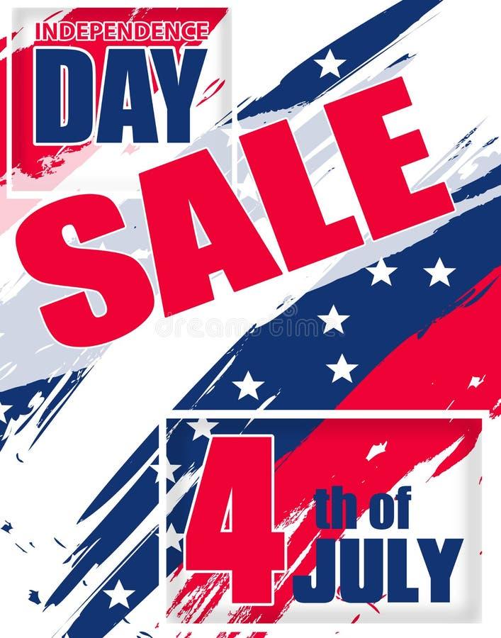 Venda moderna do fundo para Dia da Independência EUA o 4 de julho para o molde do vertical do cartaz ou da bandeira Vetor ilustração stock