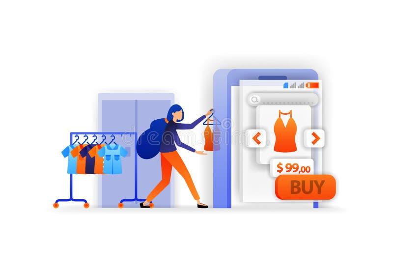 Venda no mercado em linha Roupa da exposição para a venda Apps de compra móveis Pagamento em linha que vende o produto Ilustra??o ilustração royalty free