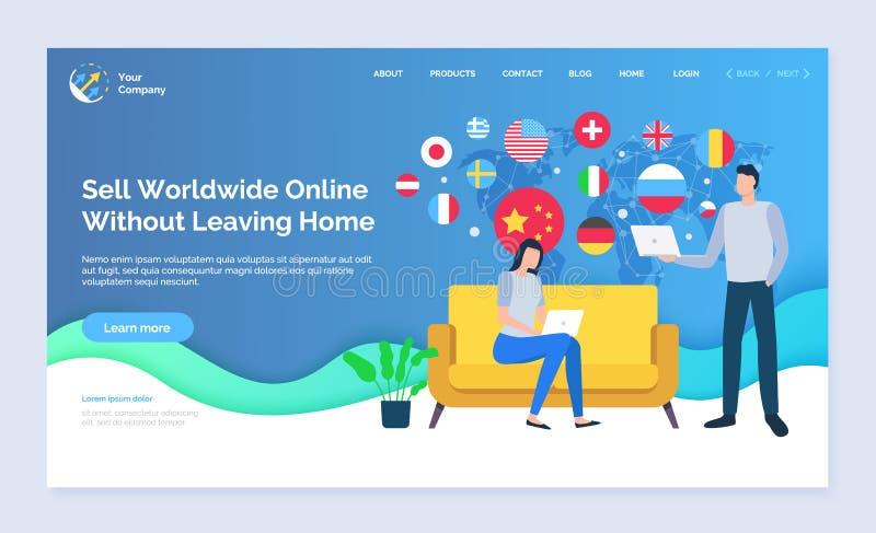 Venda no mundo inteiro sem deixar a página do Web site da casa ilustração stock
